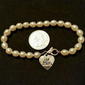 "8"" Helzberg Diamonds I AM LOVED Pearl Bracelet"